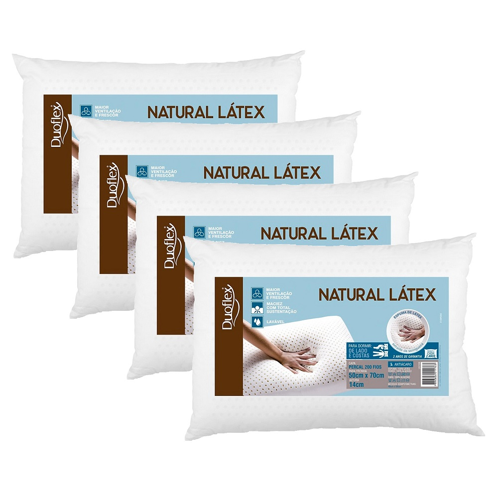 Kit 04 Travesseiros Duoflex Natural Látex 50x70x14cm LN1108