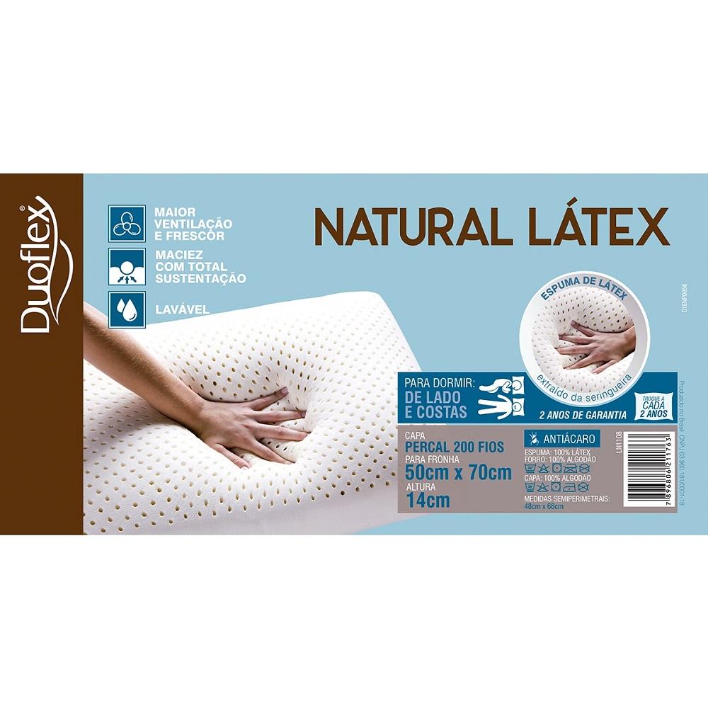 Kit 04 Travesseiros Duoflex Natural Látex 50x70x14cm LN1108