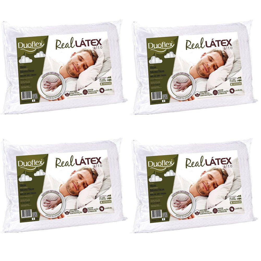 Kit 04 Travesseiros Duoflex Real Látex Capa 100% Algodão Dry Fresh 50x70x16cm