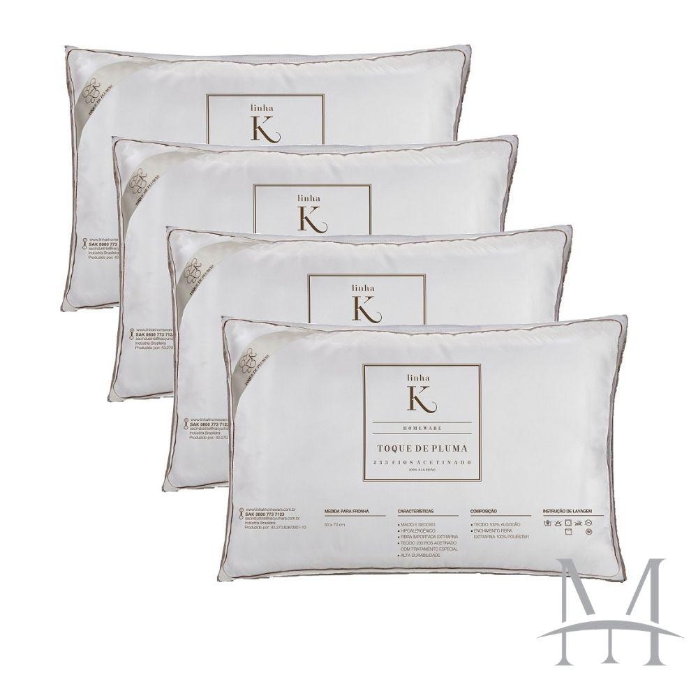 Kit 04 Travesseiros Kacyumara Toque de Pluma 100% Algodão 233 Fios