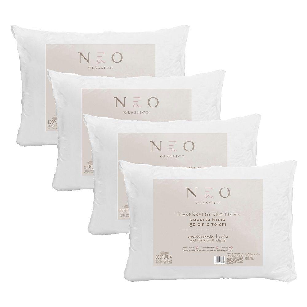 Kit 04 Travesseiros Neo Prime Ecopluma 100% Algodão 233 Fios Firme