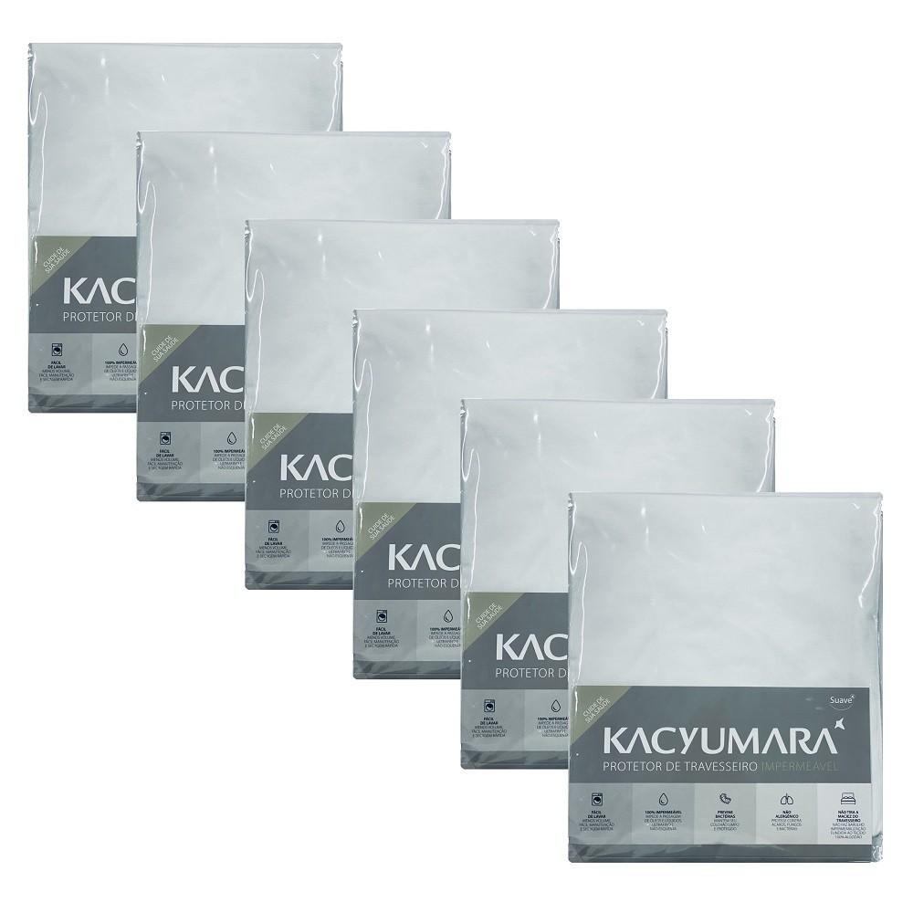 Kit 06 Capas Protetora Travesseiro Impermeável Malha Kacyumara