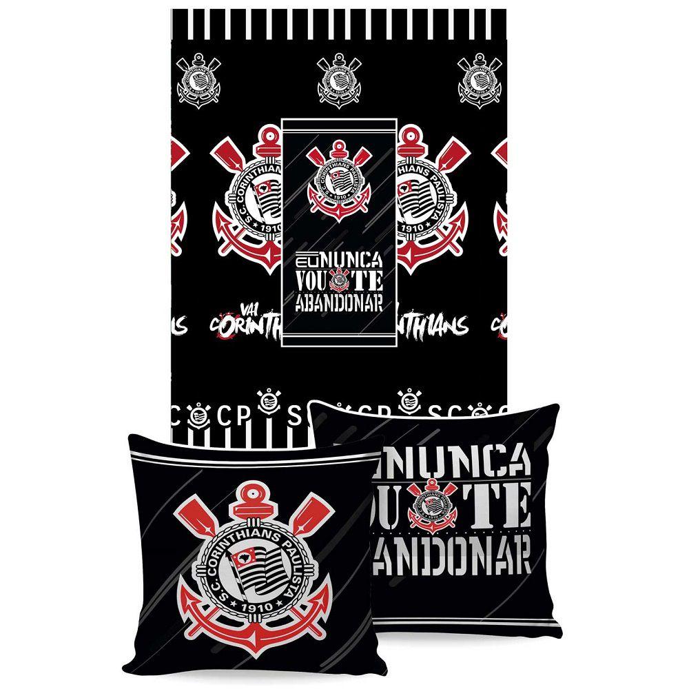 Manta Jolitex Solteiro Almofada Corinthians 1,50x2,00m