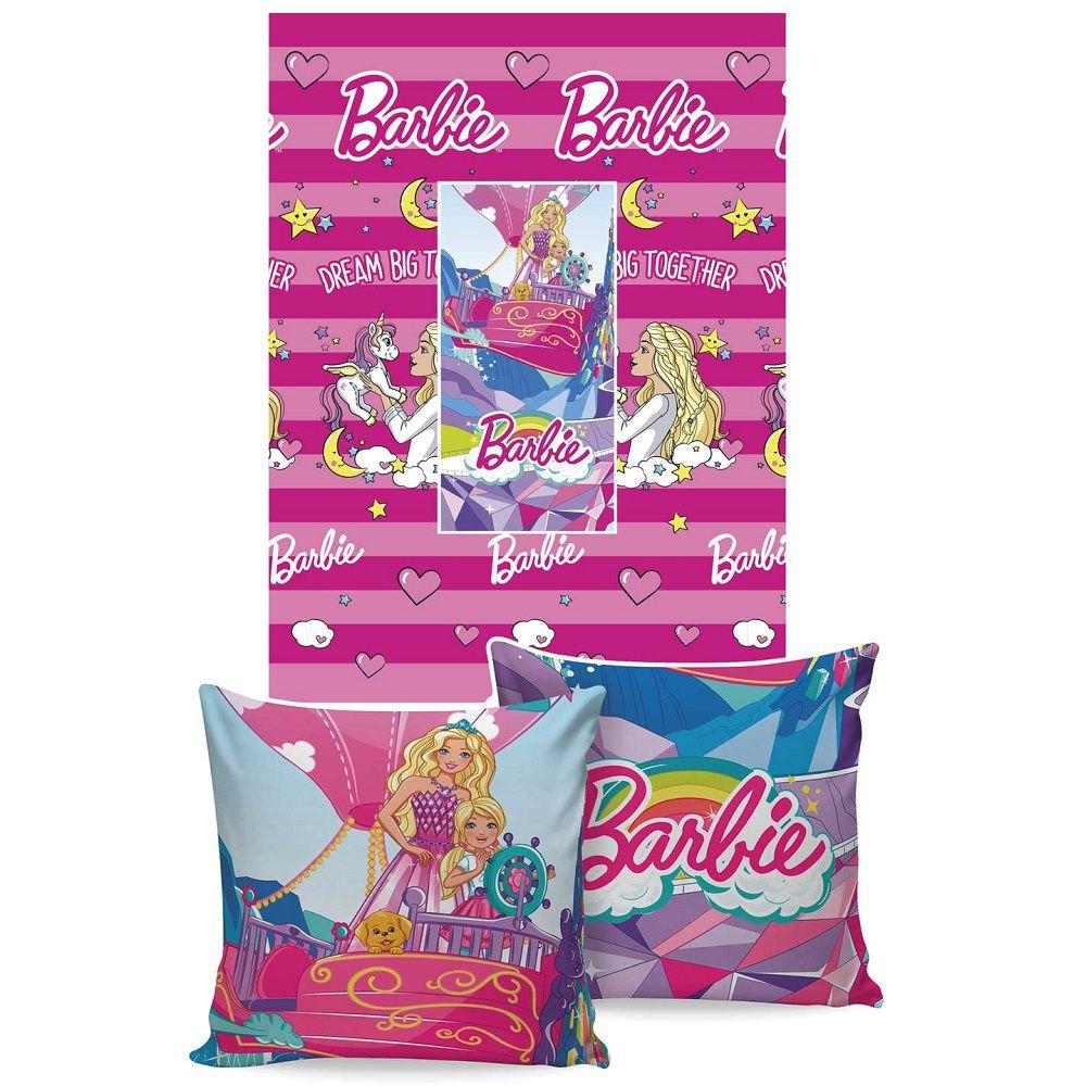 Manta Jolitex Solteiro Almofada Soft Barbie 1,50x2,00m