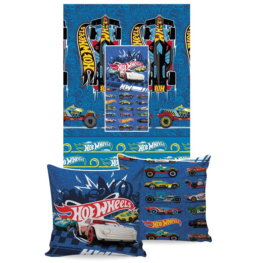 Manta Jolitex Solteiro Almofada Soft Hot Wheels 1,50x2,00m