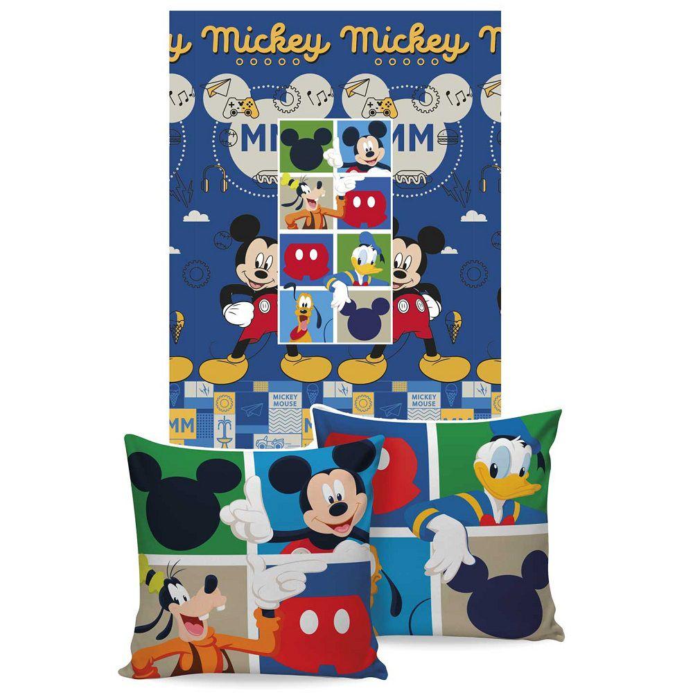Manta Jolitex Solteiro Almofada Soft Mickey Mouse 1,50x2,00m