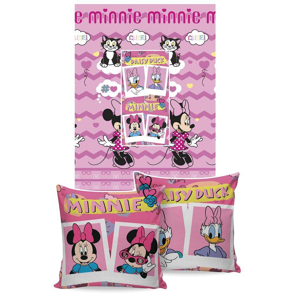 Manta Jolitex Solteiro Almofada Soft Minnie Mouse 1,50x2,00m