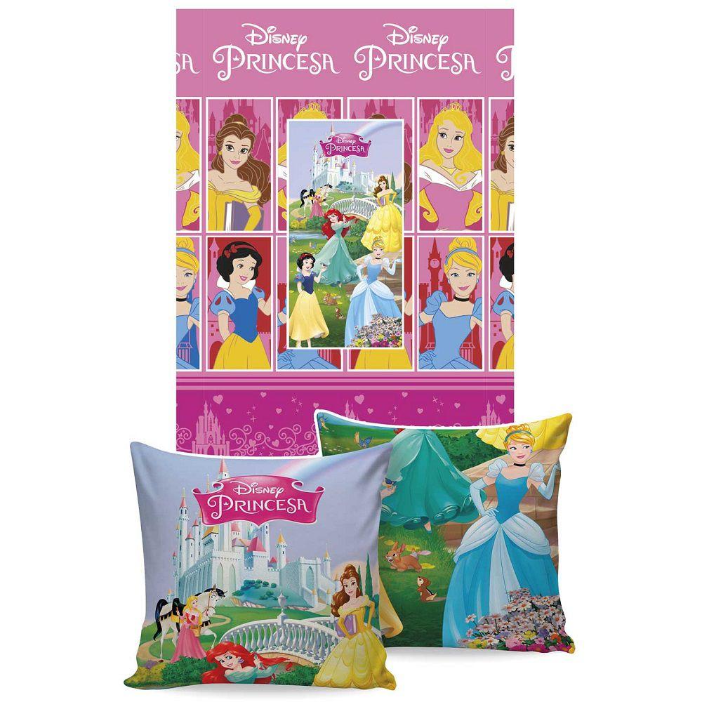 Manta Jolitex Solteiro Almofada Soft Princesas 1,50x2,00m