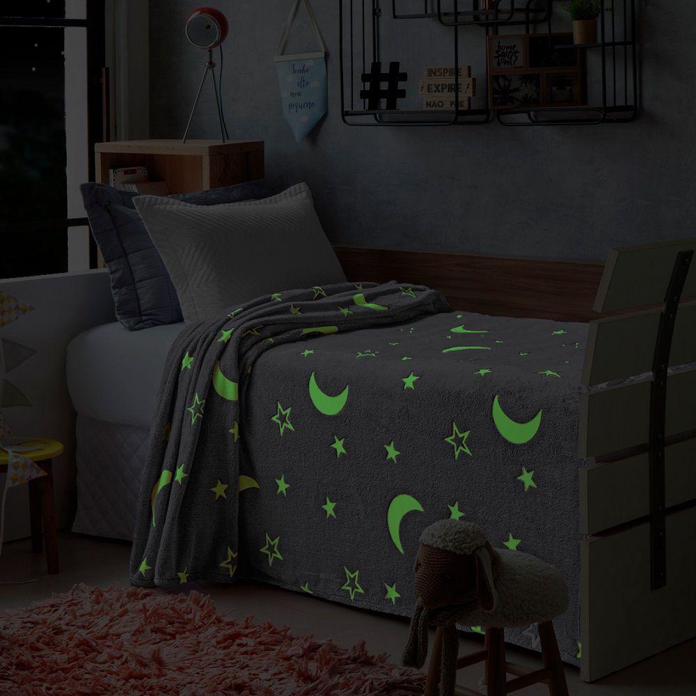 Manta Jolitex Solteiro Soft Microfibra Brilha no Escuro Cinza