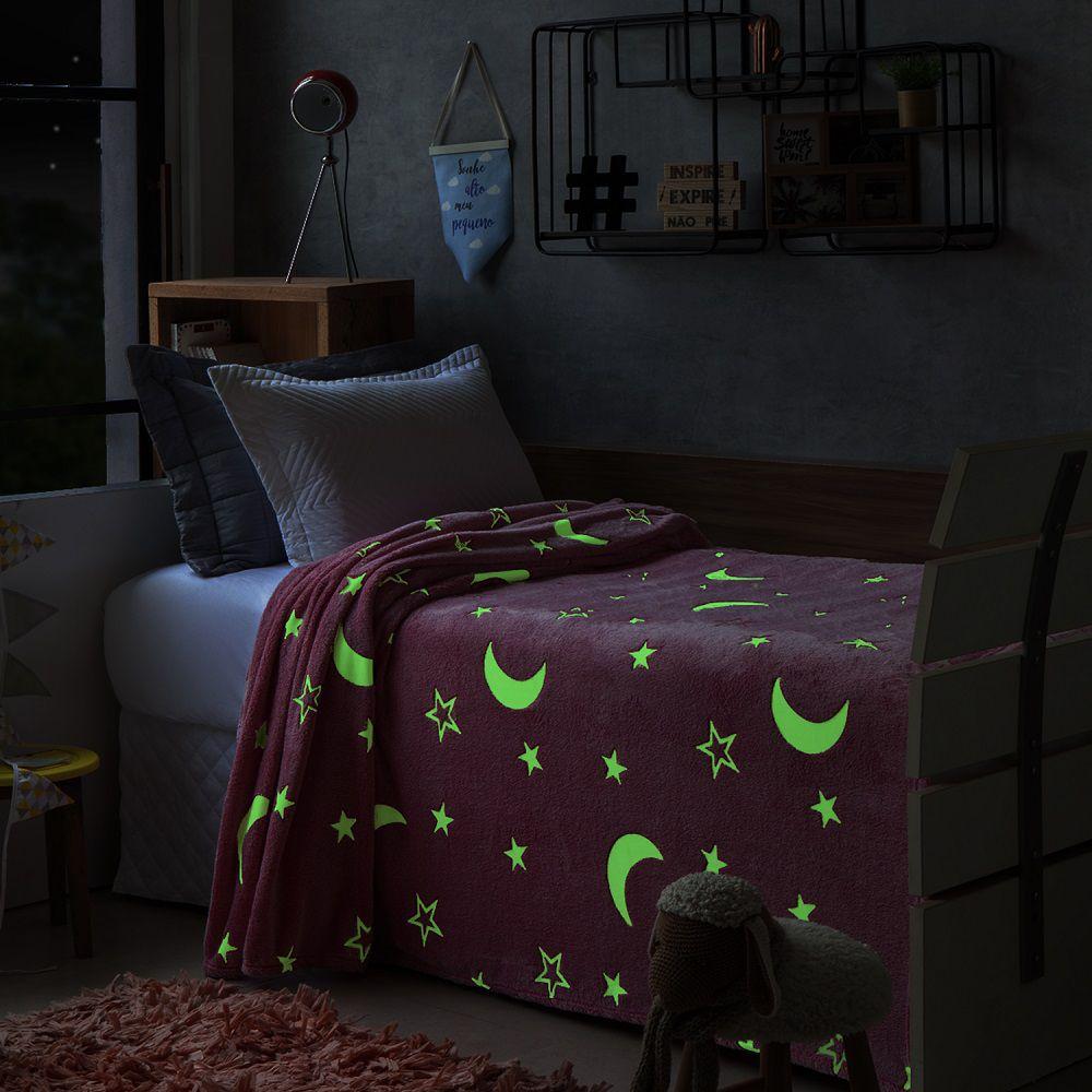 Manta Jolitex Solteiro Soft Microfibra Brilha no Escuro Rosa