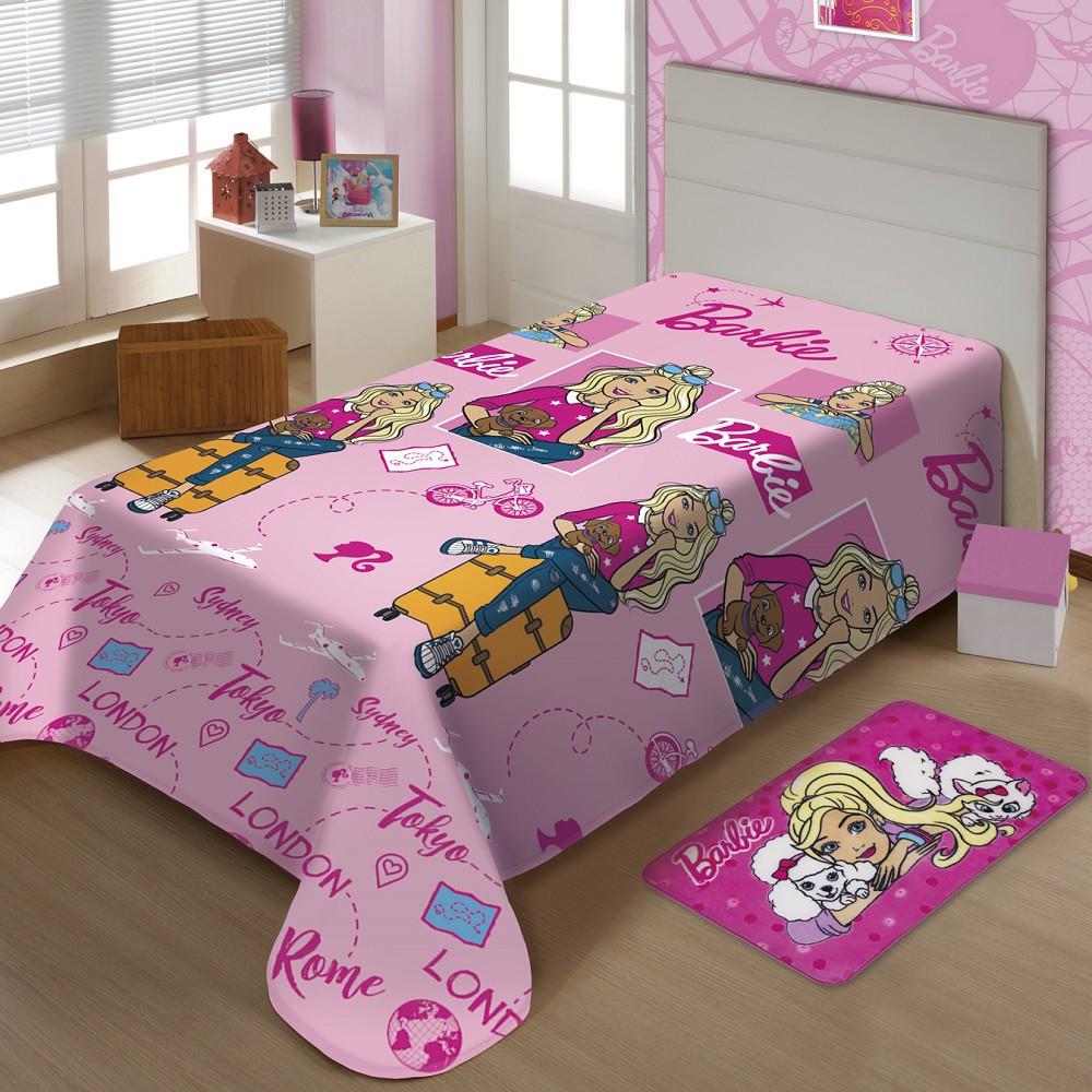 Manta Jolitex Solteiro Soft Microfibra Disney Barbie Viagens