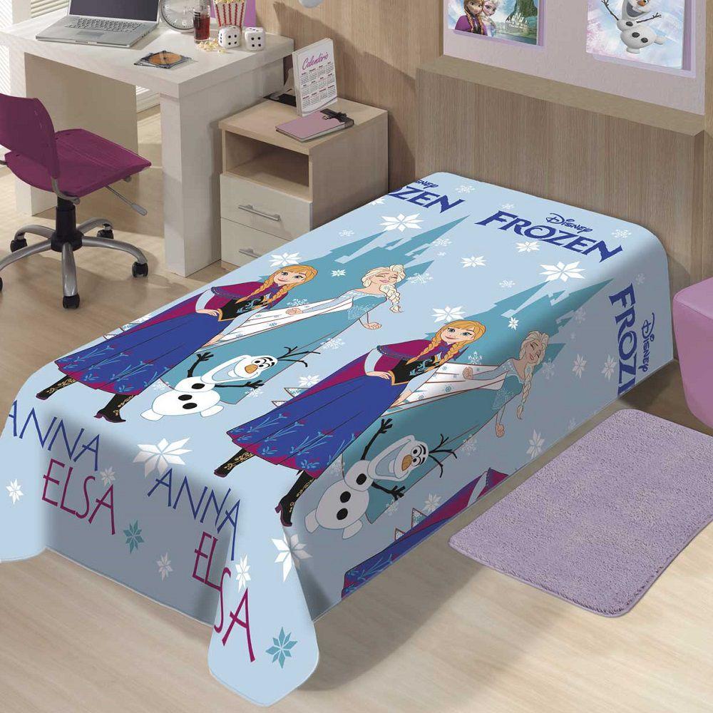 Manta Jolitex Solteiro Soft Microfibra Disney Frozen Neve