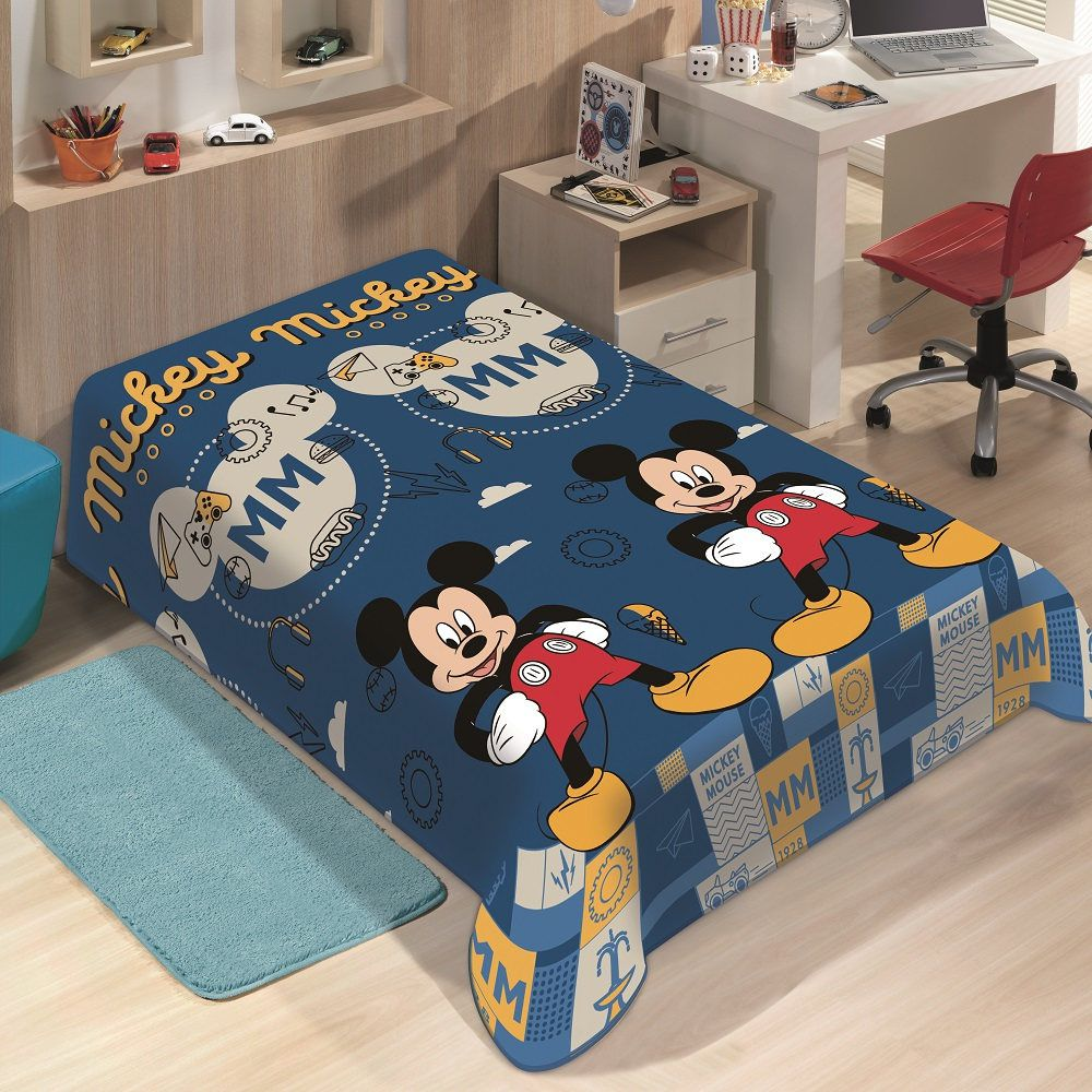 Manta Jolitex Solteiro Soft Microfibra Disney Mickey Mouse