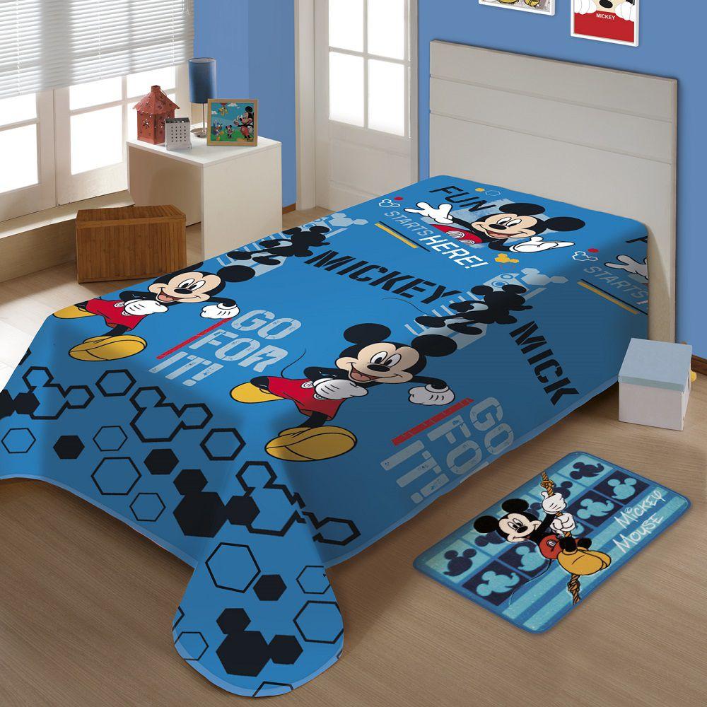 Manta Jolitex Solteiro Soft Microfibra Disney Mickey Oficial