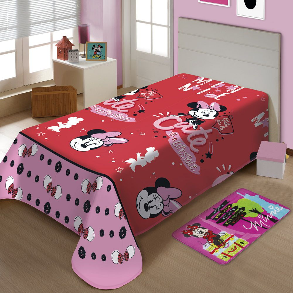 Manta Jolitex Solteiro Soft Microfibra Disney Minnie Oficial