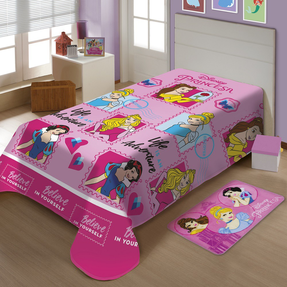 Manta Jolitex Solteiro Soft Microfibra Disney Princesas Amigas
