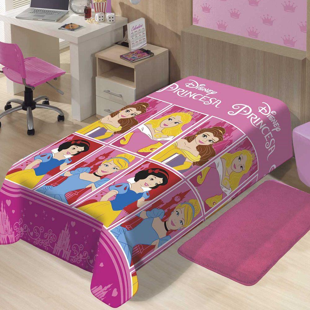 Manta Jolitex Solteiro Soft Microfibra Disney Princesas Castelo