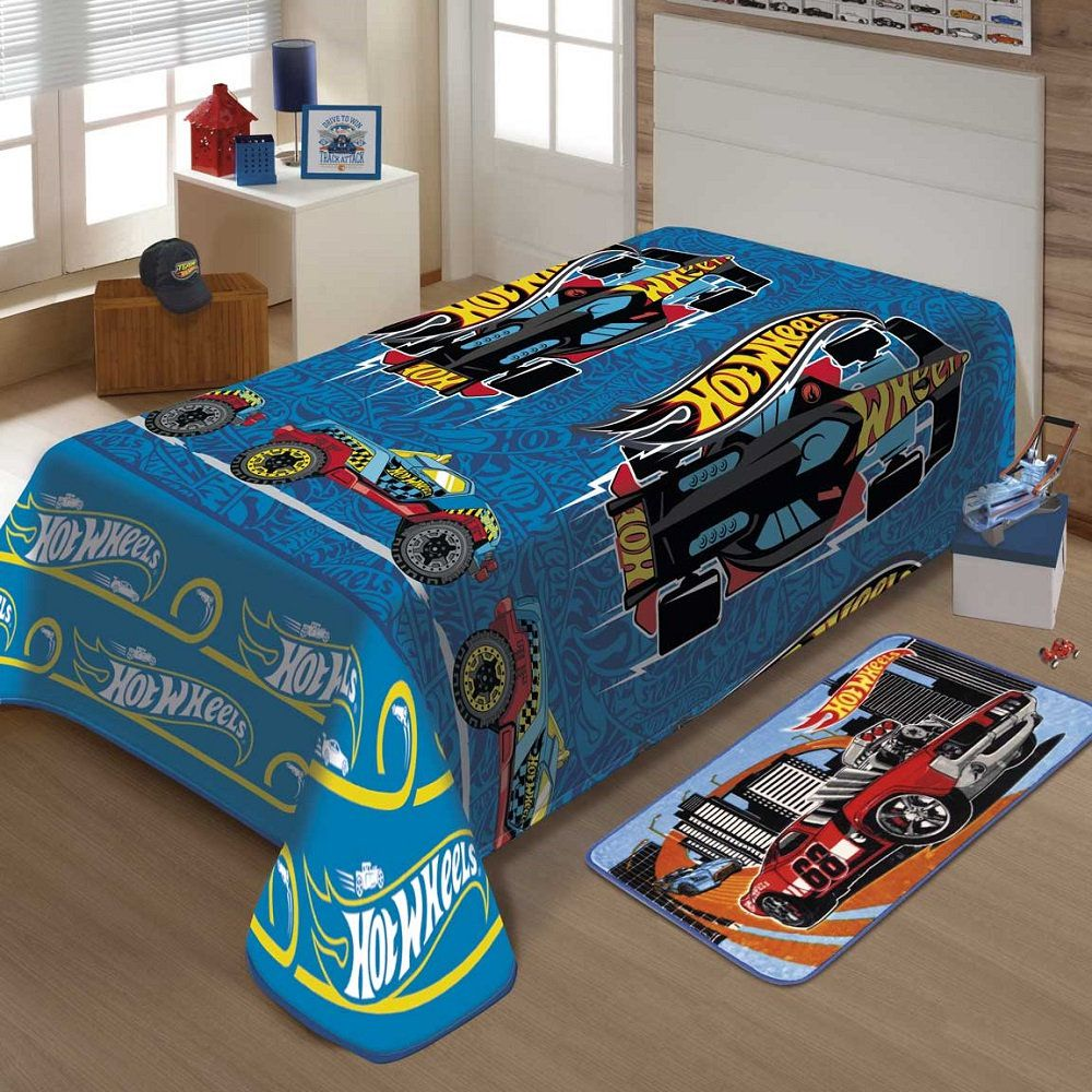 Manta Jolitex Solteiro Soft Microfibra Hot Wheels Corrida