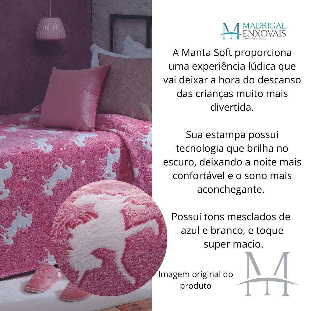 Manta Jolitex Solteiro Soft Unicórnio Brilha no Escuro Rosa