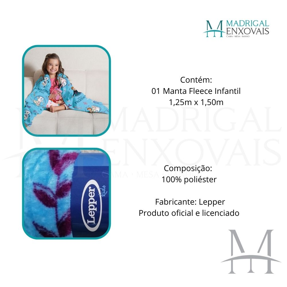 Manta Soft Fleece Infantil Lepper Frozen Microfibra