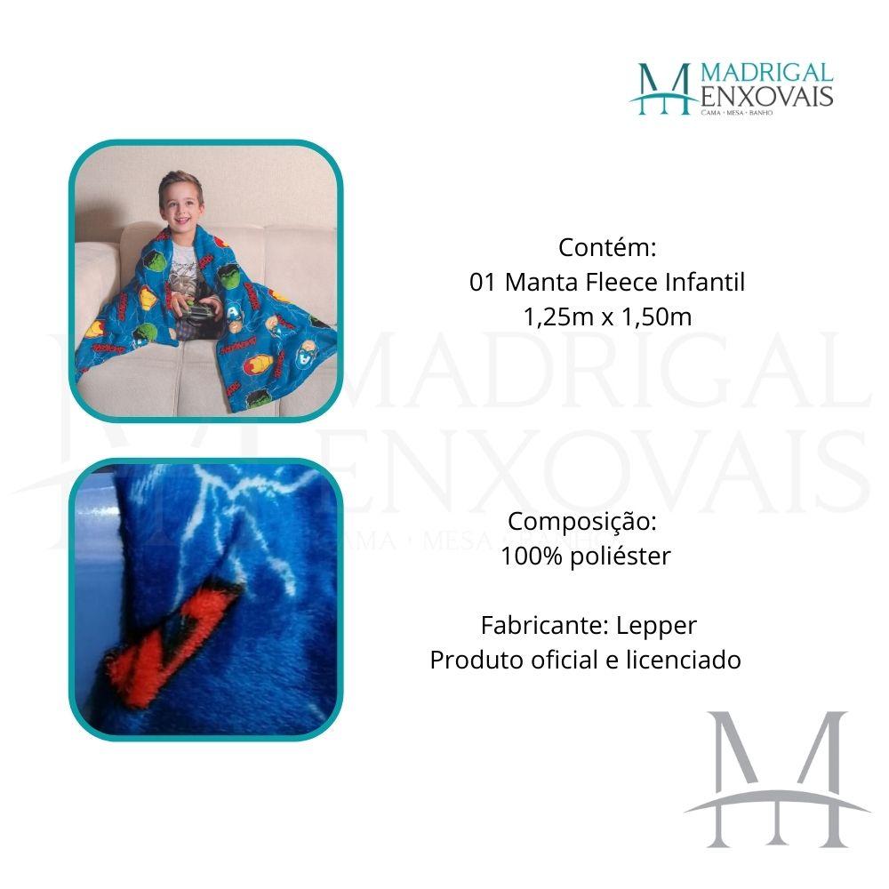 Manta Soft Fleece Infantil Lepper Vingadores Microfibra