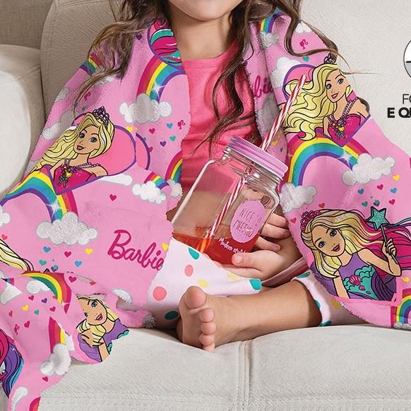 Manta Solteiro Soft Barbie Fleece Infantil Microfibra Lepper