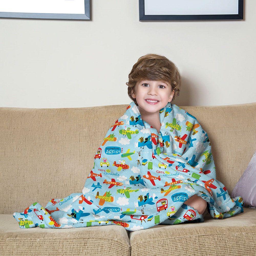 Manta Solteiro Soft Fleece Infantil Microfibra Avião Lepper