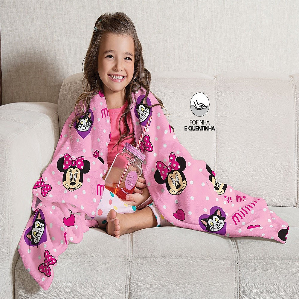 Manta Solteiro Soft Fleece Infantil Microfibra Minnie Lepper