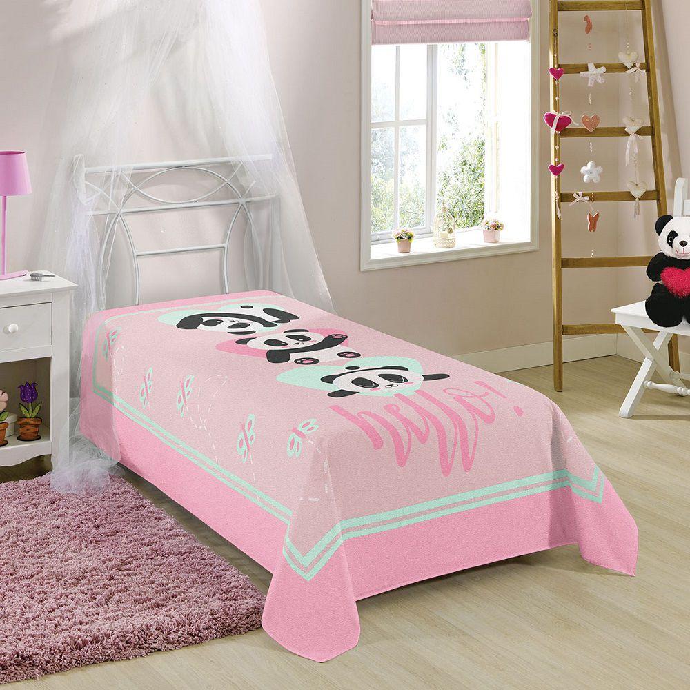 Manta Solteiro Soft Fleece Microfibra Panda 1,50x2,20m Lepper