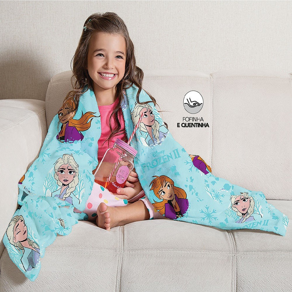 Manta Solteiro Soft Frozen 2 Fleece Infantil Microfibra Lepper