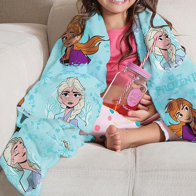 Manta Solteiro Soft Frozen 2 Fleece Infantil Microfibra Lepper