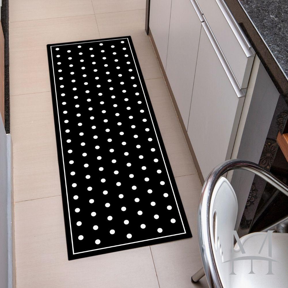 Passadeira de Cozinha Kacyumara Decore 0,45x1,20m Black White