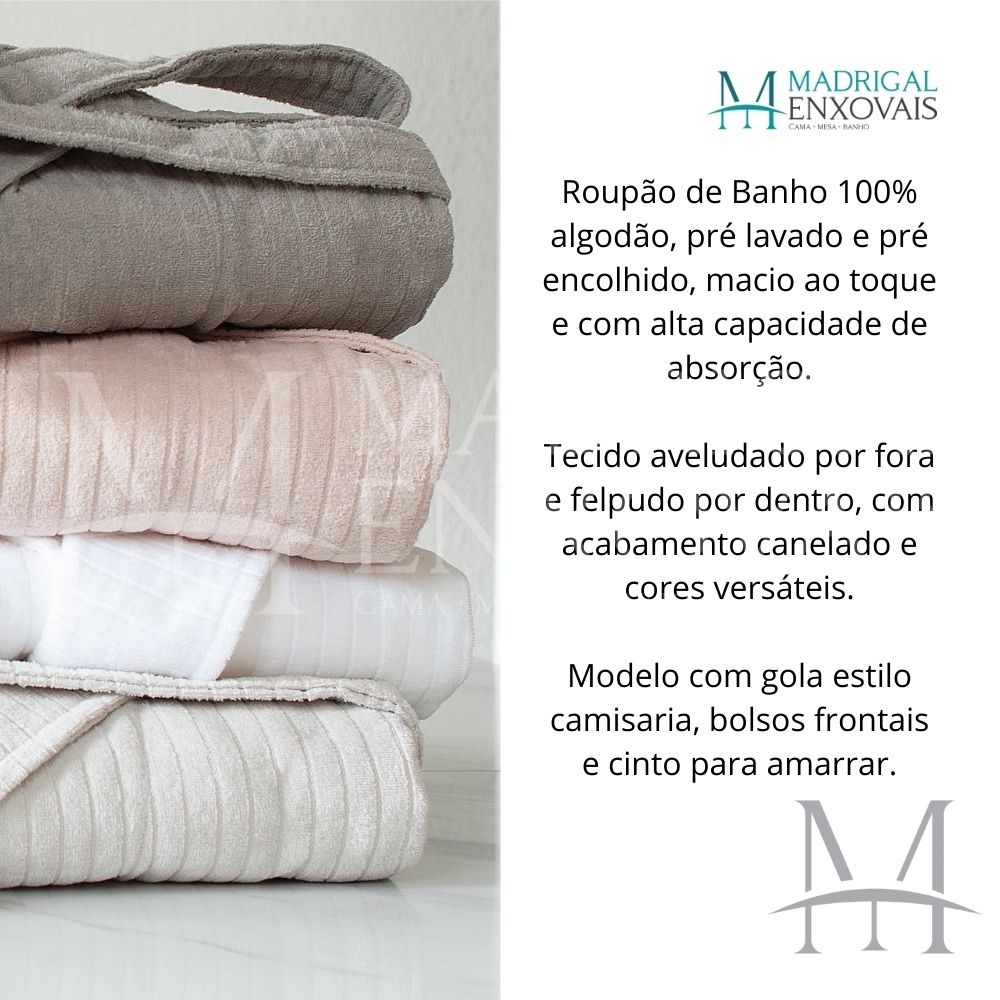 Roupão de Banho Buddemeyer Veludo Tam. GG Stripes 100% Algodão