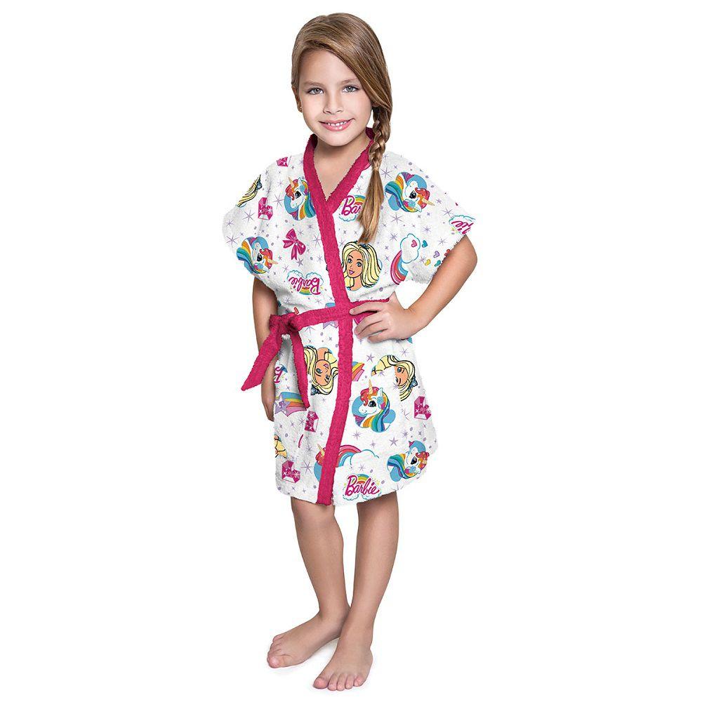 Roupão Infantil Felpudo Barbie Unicórnio Tam P Lepper