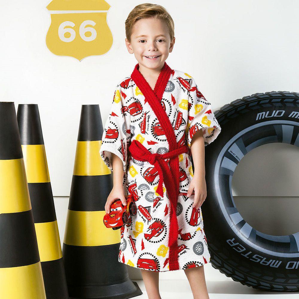 Roupão Infantil Felpudo Disney Carros Tam PP (2 A 3 Anos)