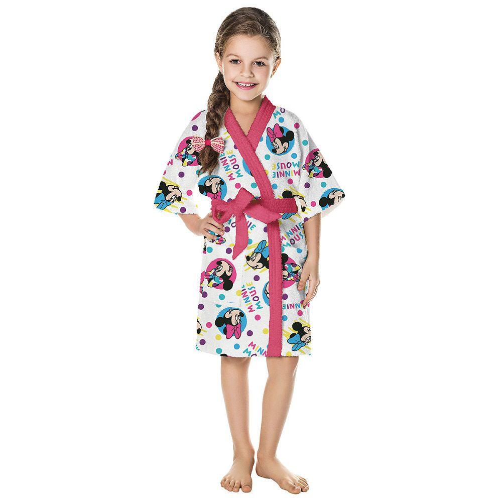 Roupão Infantil Felpudo Disney Minnie Rosa Tam P (4 A 6 Anos) Lepper