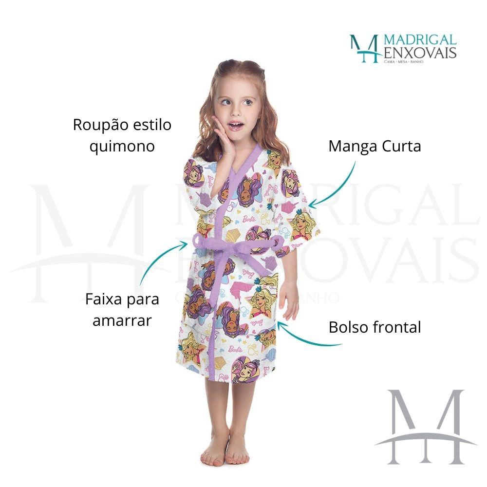 Roupão Infantil Felpudo Lepper Barbie Tam M (6 a 8 Anos)