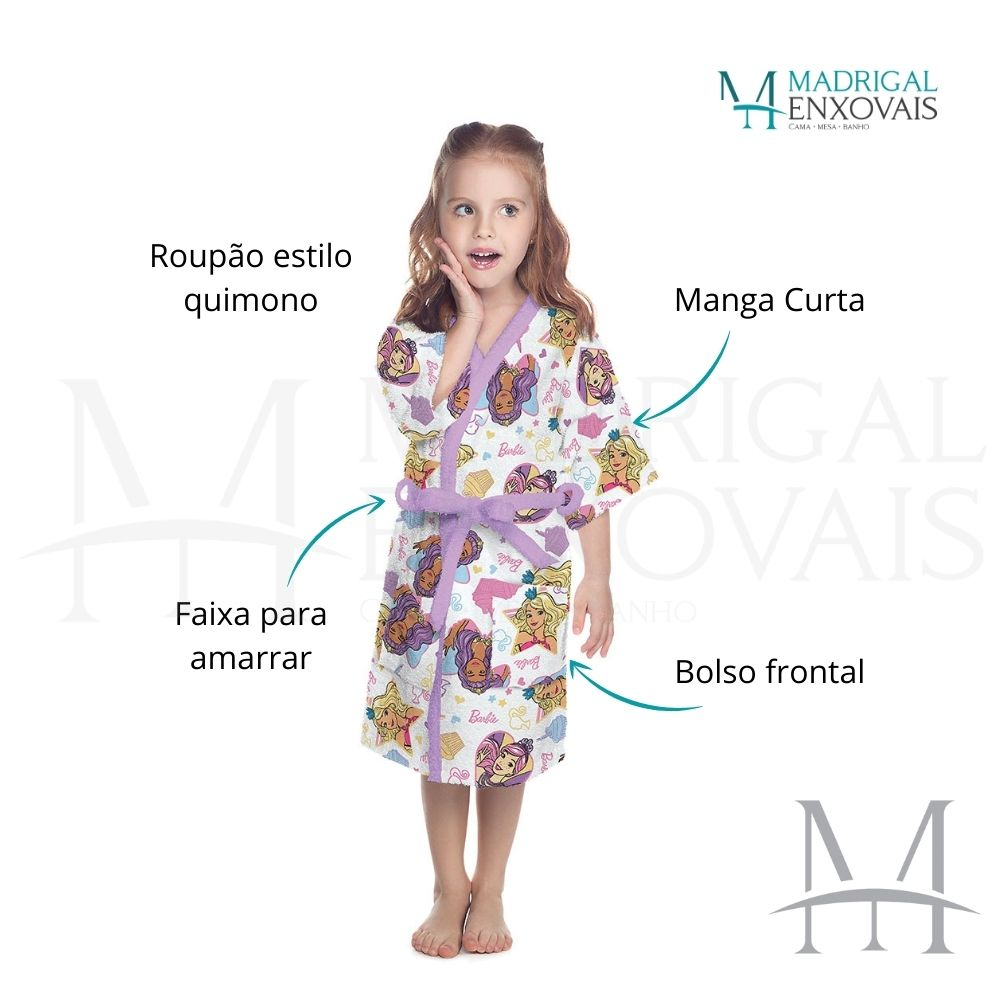 Roupão Infantil Felpudo Lepper Barbie Tam P (4 a 6 Anos)