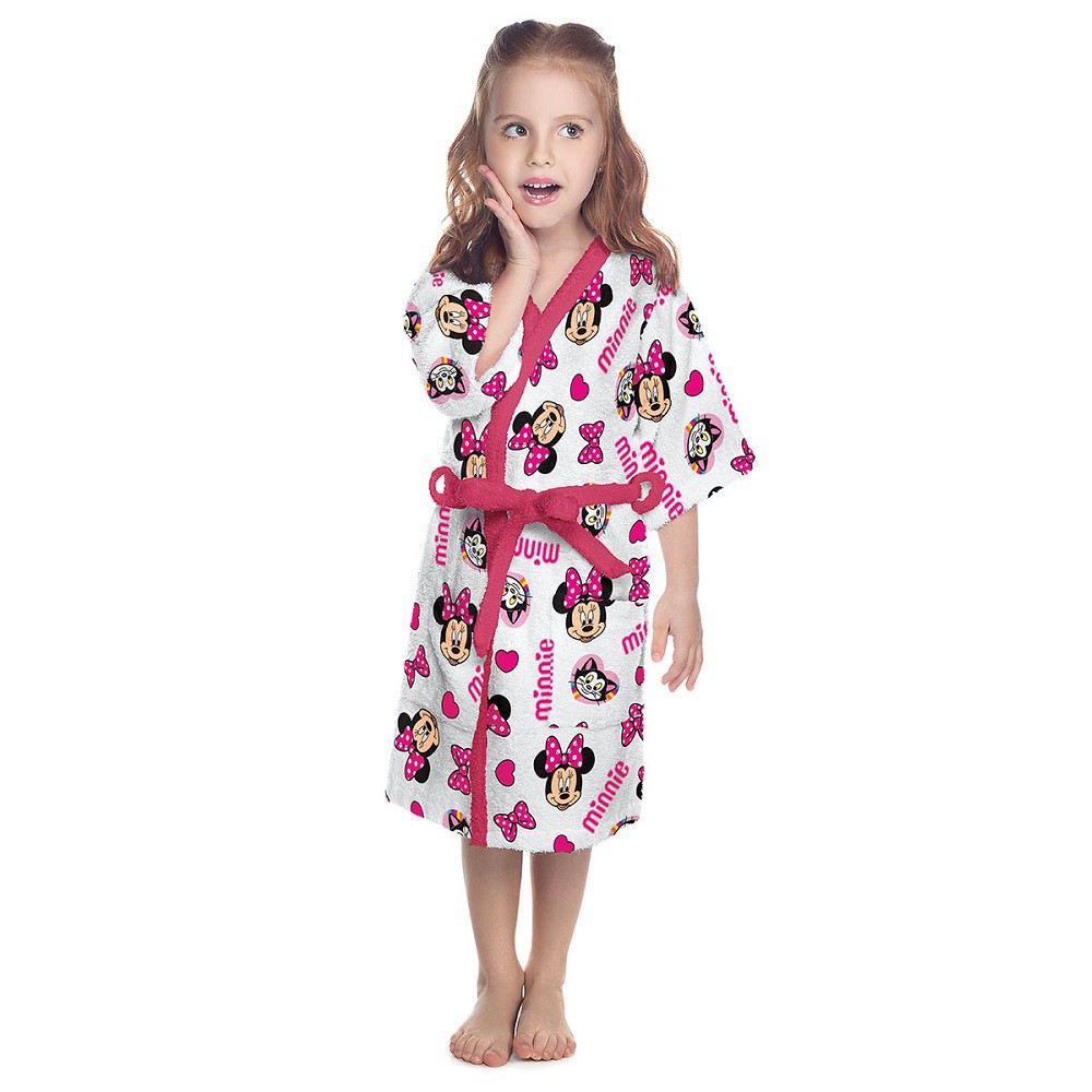 Roupão Infantil Felpudo Minnie Rosa Tam G (8 a 10 Anos) Lepper