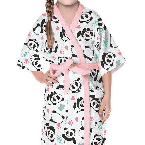 Roupão Infantil Felpudo Panda Tam P (4 a 6 Anos) Lepper