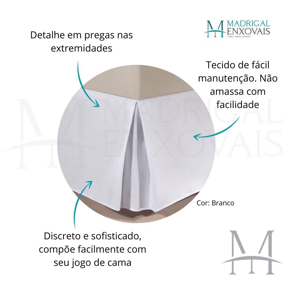 Saia para Cama Box Colchão Casal Kacyumara com Pregas Branca