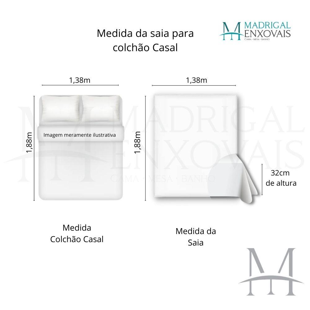 Saia para Cama Box Colchão Casal Kacyumara com Pregas Pérola