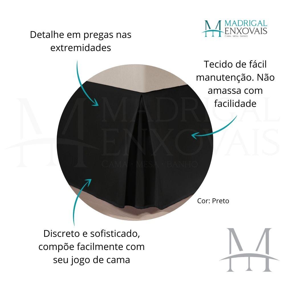 Saia para Cama Box Colchão Casal Kacyumara com Pregas Preta