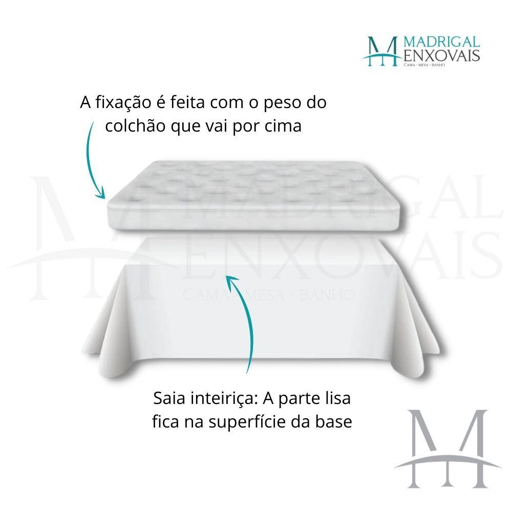 Saia para Cama Box Colchão Casal Kacyumara Ponto Palito Pérola