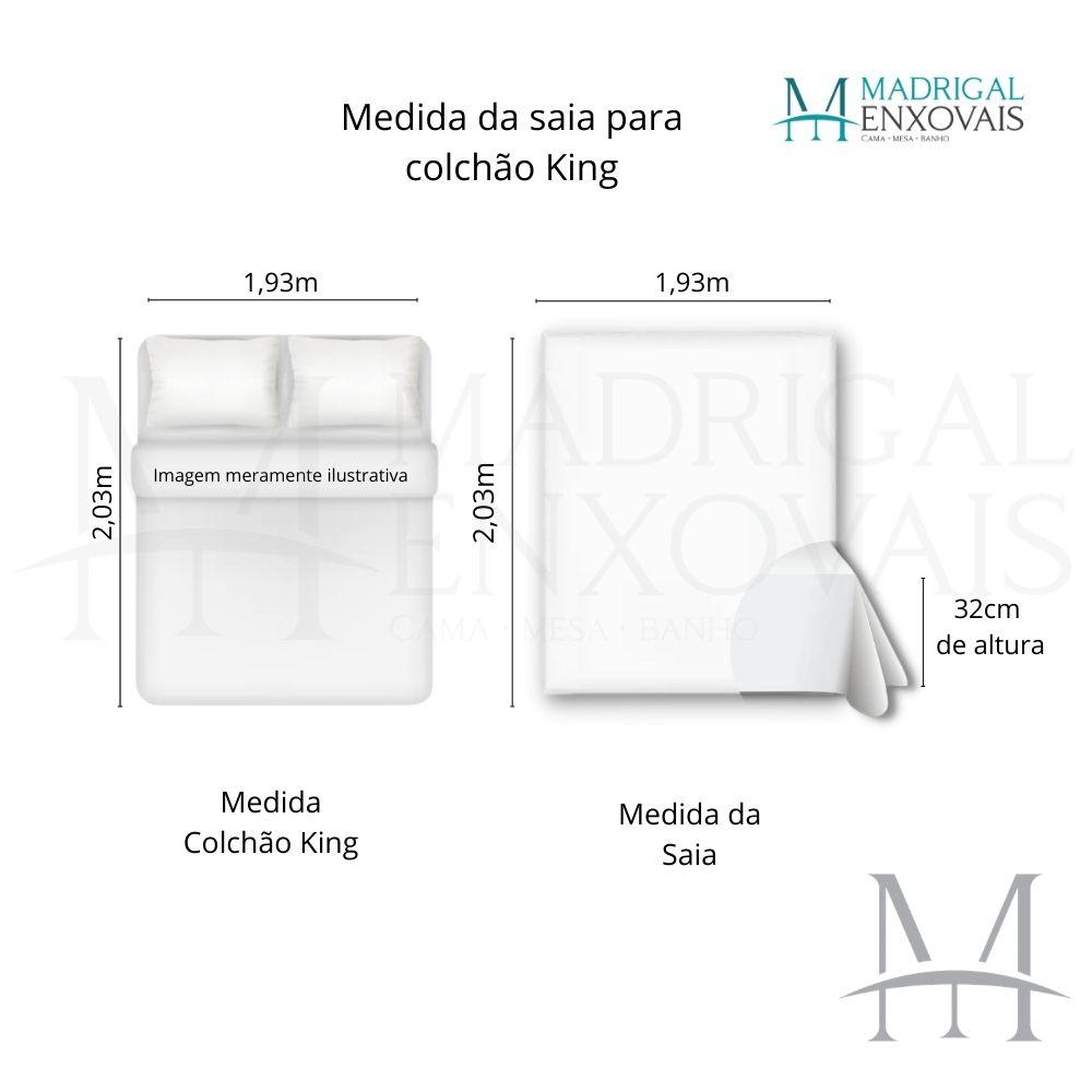Saia para Cama Box Colchão King Kacyumara com Pregas Pérola