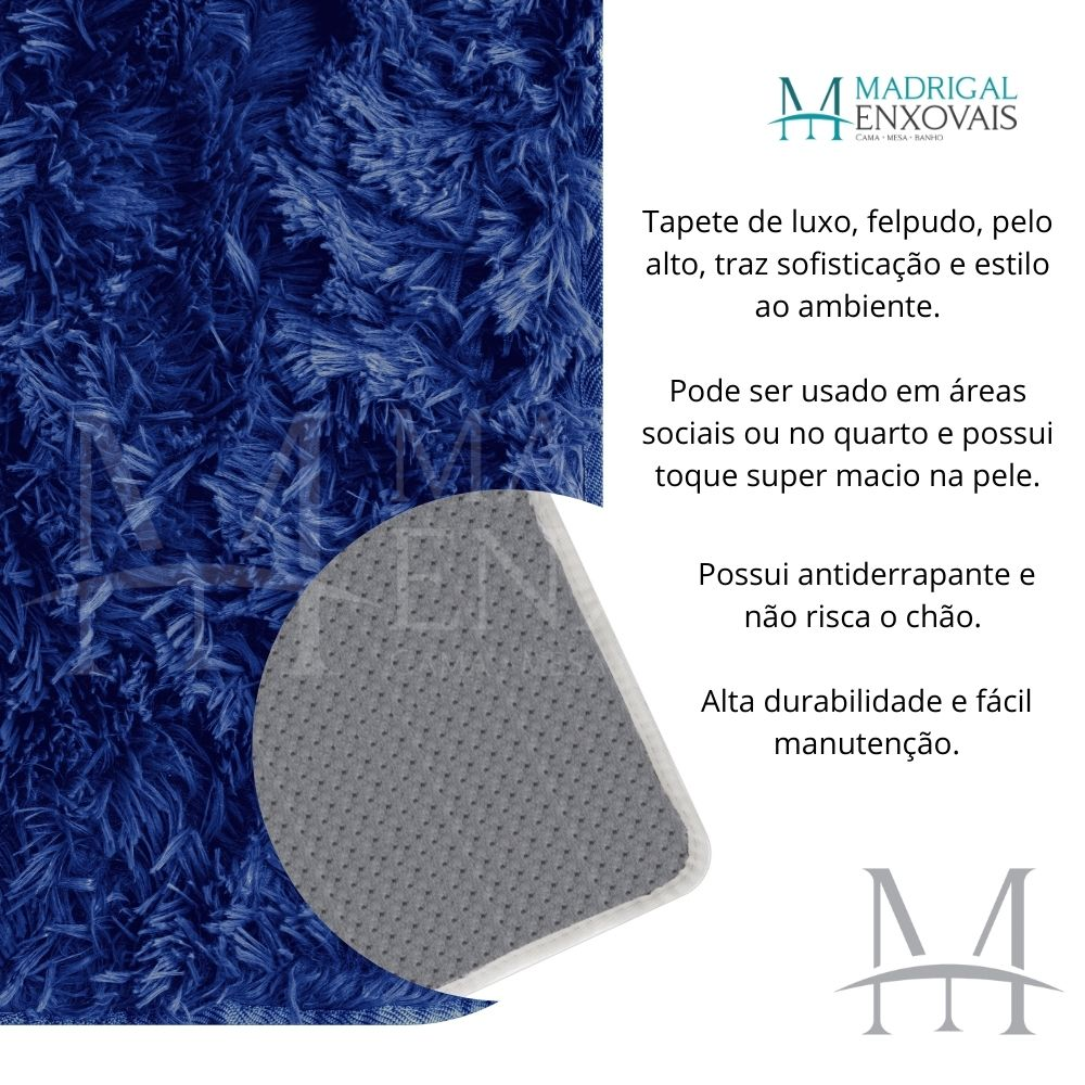Tapete Jolitex Luxo Felpudo Pelo Alto 0,50x0,80m Azul