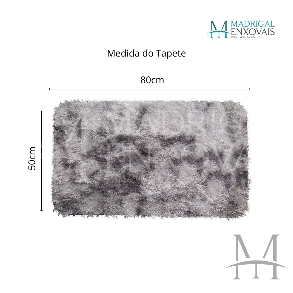 Tapete Jolitex Luxo Felpudo Pelo Alto 0,50x0,80m Mescla Cinza