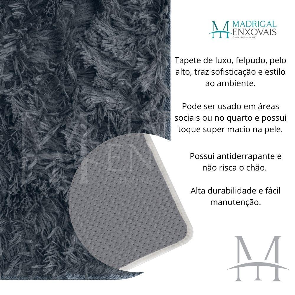 Tapete Jolitex Luxo Felpudo Pelo Alto 1,00x1,40m Cinza