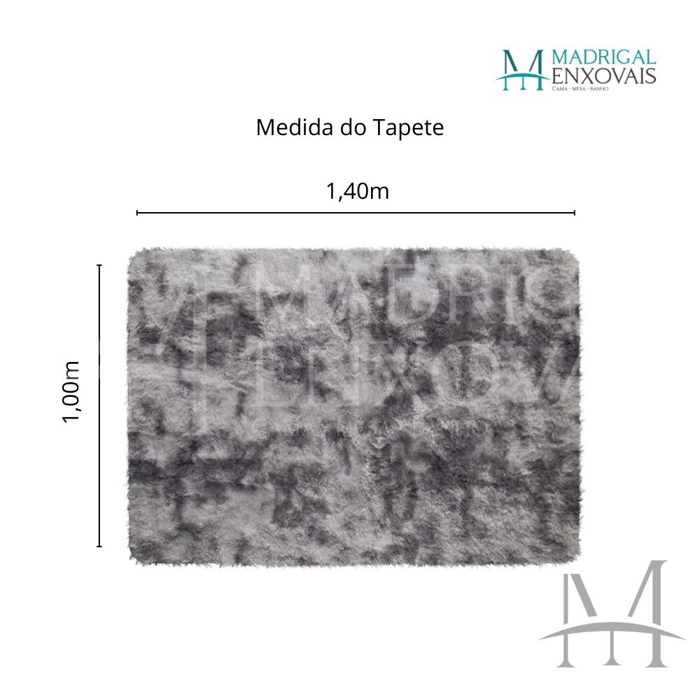 Tapete Jolitex Luxo Felpudo Pelo Alto 1,00x1,40m Mescla Cinza