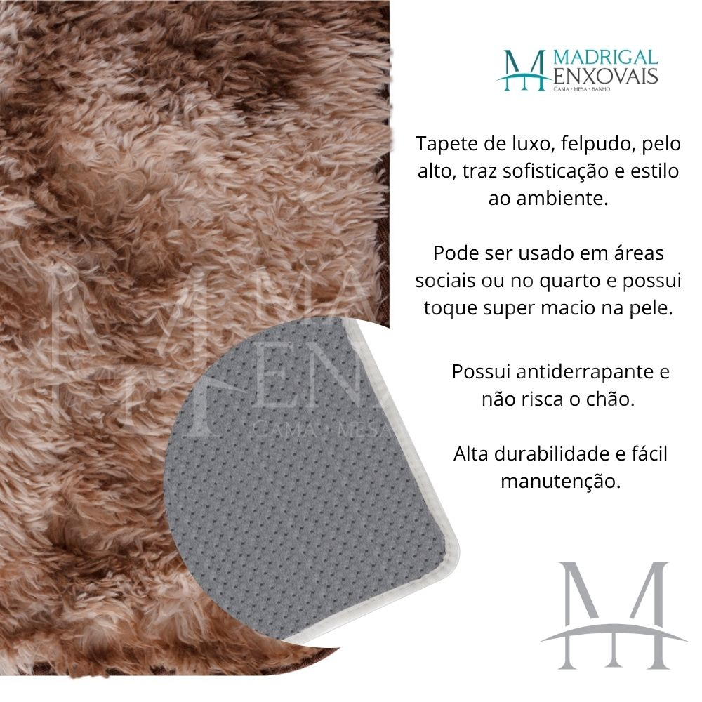 Tapete Jolitex Luxo Felpudo Pelo Alto 1,40x2,00m Mescla Marrom